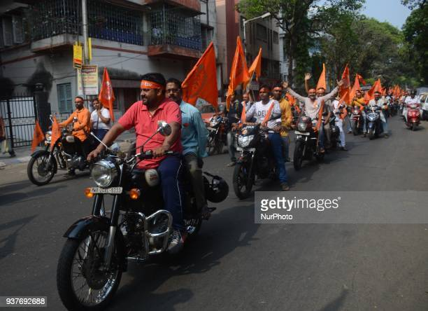 Indian Hindu devotees shouts slogans during the rally on the eve of Ram Navami festival in Kolkata India on Sunday 25th March 2018