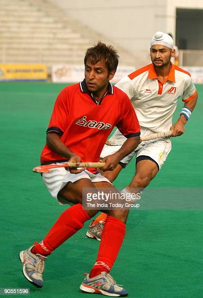 Indian hockey player Gagan Ajit Singh during the 42nd STC Nehru hockey tournament against Indian Airlines at the Shivaji stadium New Delhi