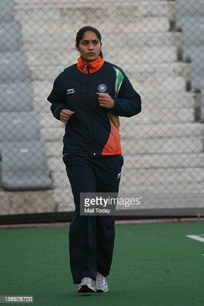 Indian Hockey player Rani Rampal during a training session at the Major Dhyan Chand National Stadium in New Delhi on Friday10th February 2012