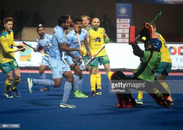 Indian hockey players are fights for the strike against Australia in the Hockey World League Final 2017 matches in the eastern Indian city...