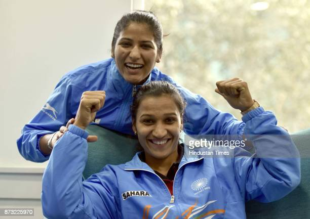 Indian Hockey Team Captain Rani Rampal and player Navneet Kaur during an exclusive interview with Hindustan Times after winning the final of the...