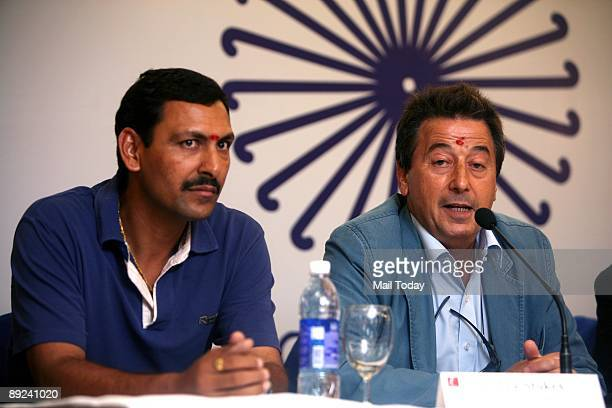Indian hockey team coach Jose Brasa speaks to the media after unveiling the new team logo in New Delhi on Thursday, July 23, 2009. A 23-member Indian...