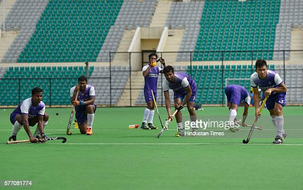 Indian Hockey team player Chinglensana Singh during a training session at National Stadium on July 13 2016 in New Delhi India