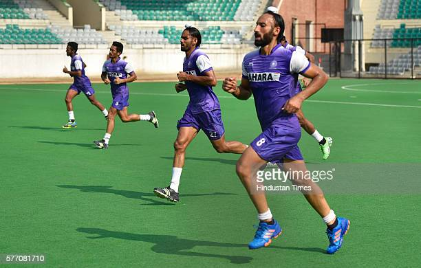 Indian Hockey team player Sardara Singh during a training session at National Stadium on July 13 2016 in New Delhi India