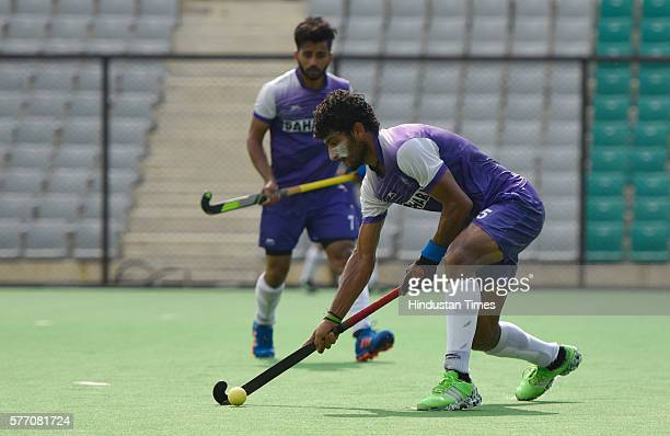 Indian Hockey team players during a training session at National Stadium on July 13 2016 in New Delhi India
