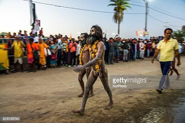 Indian Holy man or Naga Baba participate in the monthlong great bathing festival or Simhastha Mela [Kumbh Mela] in Ujjain Thousands of pilgrims...