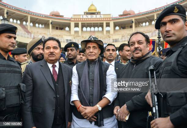 Indian Home Minister Rajnath Singh along with Bharatiya Janata Party Punjab President Shwait Malik and Punjab Education Minister Om Parkash Soni...