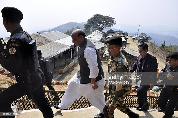 Indian Home minister Rajnath Singh arrives at the Border Security Force border outpost at Khantlang 254 kms north of Agartala the capital of...