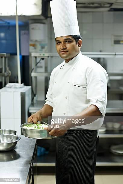 Indian hotel chef preparing food