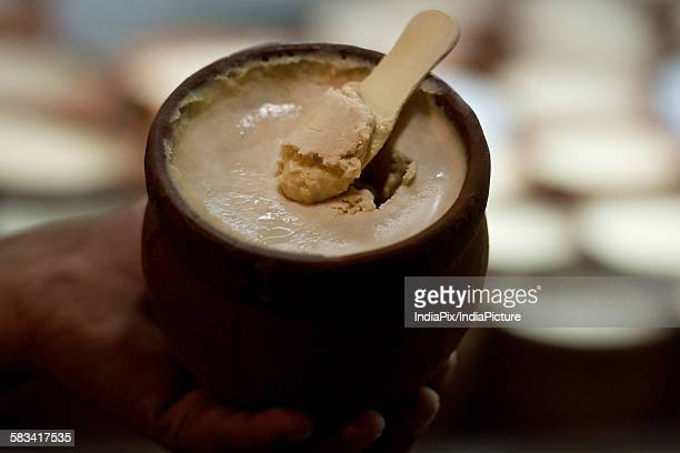 Indian Ice Cream, Kulfi served in earthen Pot