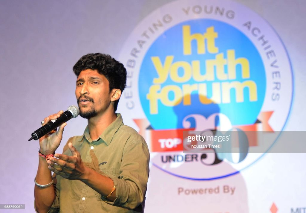 Indian Idol 9 finalist Khuda Bakhas performing during HT Youth Forum on May 26 2017 in Chandigarh India
