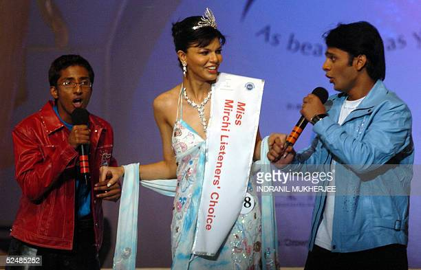 Indian idol fame singers Amit sana9L and Rahul Vaidya croon as they woo Pond's Femina Miss India 2005 Miss Listeners Choice Shibani Sabikhi during...