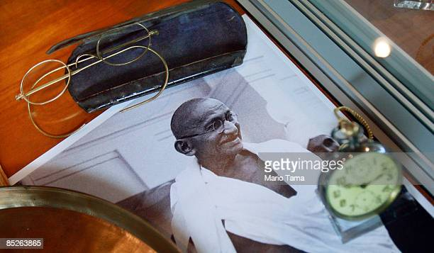 Indian independence leader Mahatma Gandhi's glasses and pocket watch are seen before a controversial auction of his memorabilia March 5, 2009 in New...