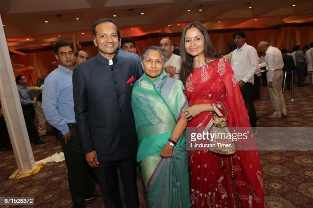 Indian industrialist Naveen Jindal with his wife Shallu Jindal during the wedding reception of INLD MP Dushyant Chautala with Meghna Ahlawat at...