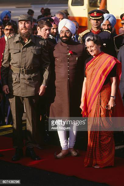 Indian Interior Minister Zingh Zail and the Indian Prime Minister Indira Gandhi welcome Cuban Head of State Fidel Castro to the 7th Summit of...