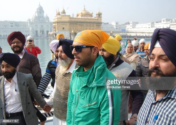 Indian international cricketer Yuvraj Singh during his visit to pay obeisance at the Sikh Shrine Golden temple on February 11 2014 in Amritsar India