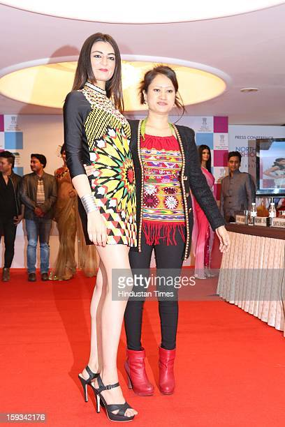 Indian Jewellery designer Yana Ngoba and model Mehak Sura during curtain raiser in the capital, on the upcoming North East Fashion Fest 2013 to be...
