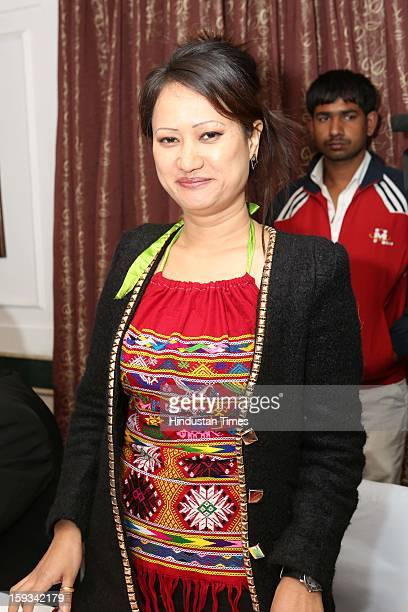 Indian Jewellery designer Yana Ngoba during curtain raiser in the capital, on the upcoming North East Fashion Fest 2013 to be held in Guwahati, at...