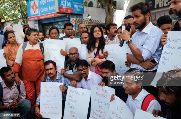 Indian journalists gathered outside Press Club of India to stage a march towards Parliament House raising slogans and placards against Delhi Police's...