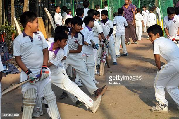 Indian Junior Cricketer coaching at the Arun Lal Bournvita Cricket Academy in KolkataIndia on Janaury 19 2017