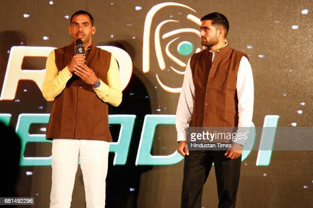 Anup kumar stock photos and pictures getty images indian kabaddi players anup kumar with rahul chaudhari during the vivo pro kabaddi press conference on altavistaventures Images