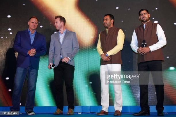 Indian Kabaddi players Rahul Chaudhari Anup Kumar with former Australian cricketers Brett Lee and Matthew Hayden during the Vivo Pro Kabaddi press...