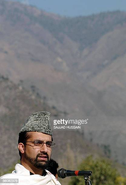 Indian Kashmiri chairman of the All Parties Hurriyat Conference Mirwaiz Omar Farooq delivers a speech during Eid prayers at Uri some 100 kms...