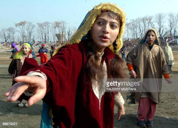 Indian Kashmiri Girls Perform A Traditional Dance During -4540