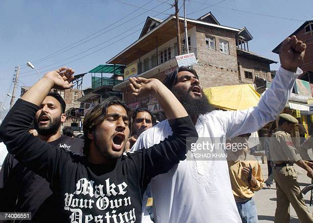 Indian Kashmiri protestors shout antigovernment slogans during a protest in Srinagar 27 April 2007 Dozens of protestors clashed with the police...