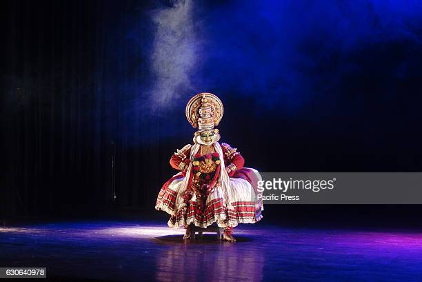 Indian Kathakali artist during a monthly dance event Nupur Beje Jai by Shadhona one of the foremost cultural organizations of Bangladesh at the...