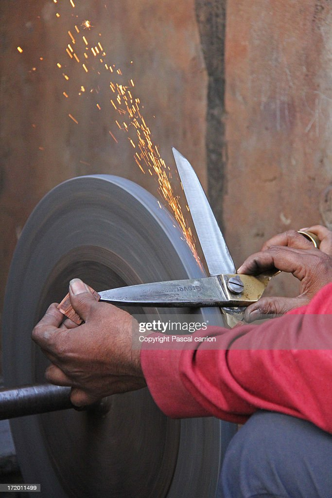 Indian Knife Sharpener Job : Stock Photo