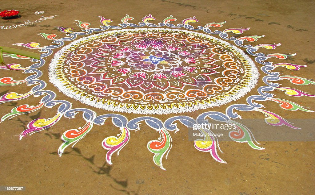 Indian Kolam Chalk Art Design : Stock Photo