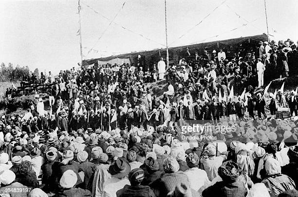 Indian lawyer activist and statesman Mohandas Karamchand Gandhi adresses a farewell meeting before leaving South Africa for England South Africa July...
