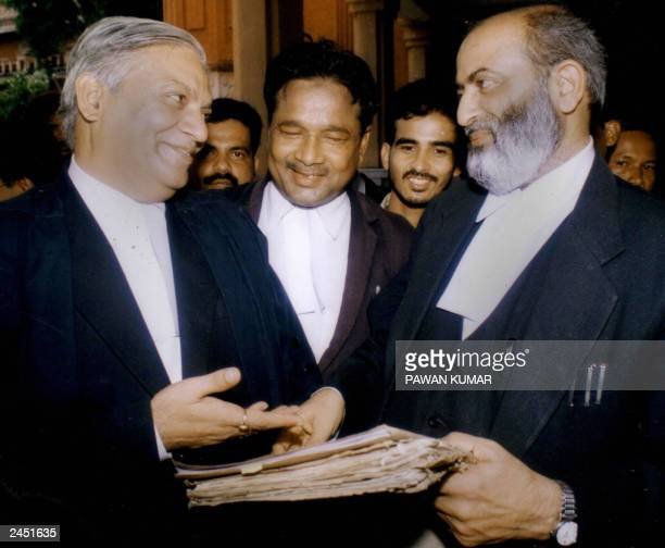 Indian lawyer representing the Hindu nationalists in the case of the disputed temple site in Ayodha, V.P.Sharma and the lawyer representing the...