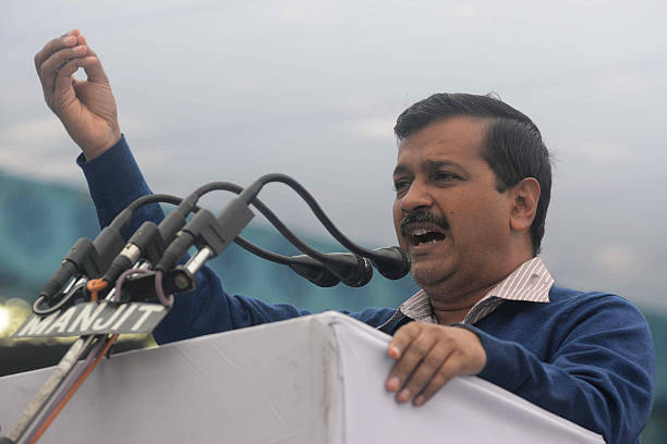 Indian leader of the Aam Aadmi Party and Chief Minister of Delhi Arvind Kejriwal speaks during a public rally in Amritsar on November 30 2016 / AFP /.