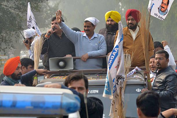 Indian leader of the Aam Aadmi Party and Chief Minister of Delhi Arvind Kejriwal AAP Punjab Convener Gurpreet Ghuggi AAP leader Sanjay Singh along...