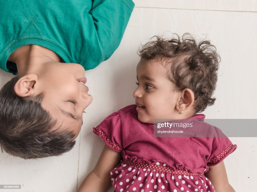 Indian Little Brother And Sister Having Fun Stock Photo -3725