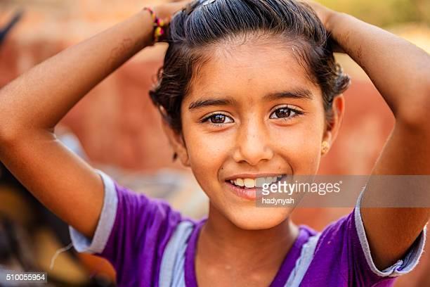 Indian little girl, Bishnoi village near Jodhpur, Rajasthan
