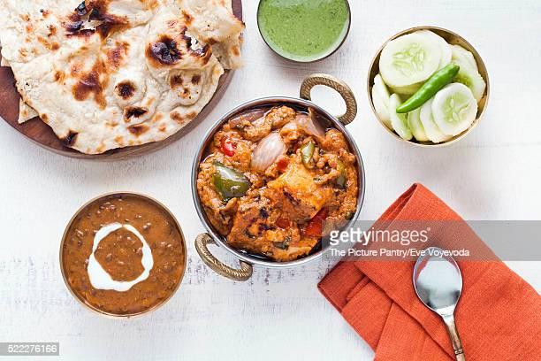 Indian Lunch with Paneer tikka masala, Dal Makhani, Naan, chutney and salad