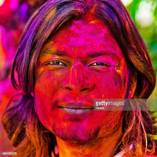 Indian man celebrating holi