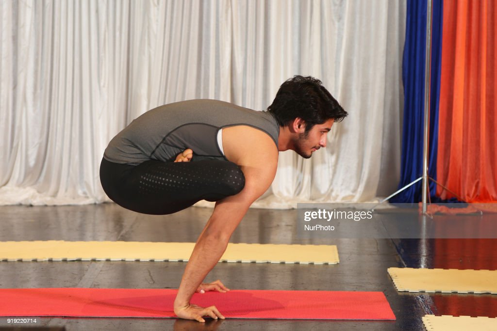 Indian Man Demonstrating Advanced Yoga Poses In Mississauga Ontario Canada