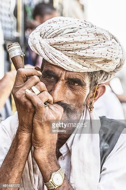 Indian Man in Rural Village Rajasthan