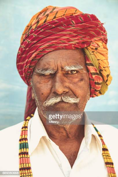 Indian Man with Colorful Turban Squinting Eye Real People Portrait India
