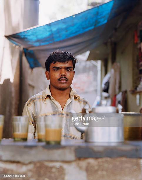 Indian man working at tea stall, portrait
