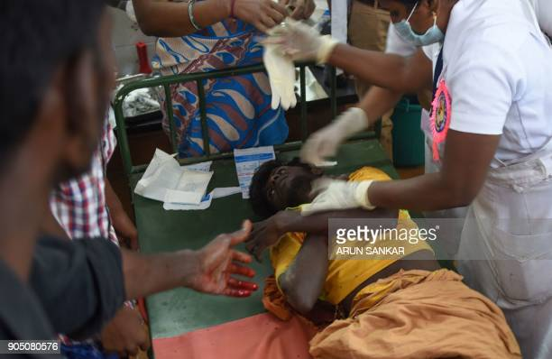 Indian medical staff treat an injured participant during an annual bull taming event 'Jallikattu' in the village of Palamedu on the outskirts of...