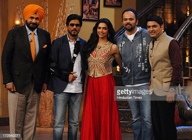 Indian Member of Parliament Navjot Singh Sidhu Bollywood actors Shahrukh Khan Deepika Padukone and director Rohit Shetty with comedian Kapil Sharma...