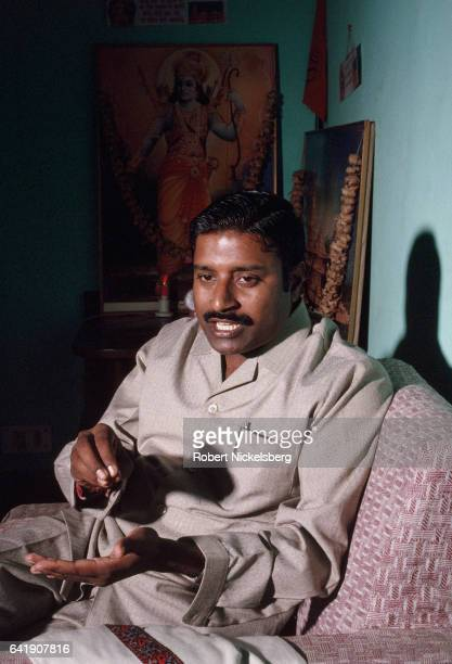 Indian Member of Parliament Vinay Katiyar 39 years speaks to a reporter at his home January 2 1993 in New Delhi India Born in 1954 Katiyar is the...
