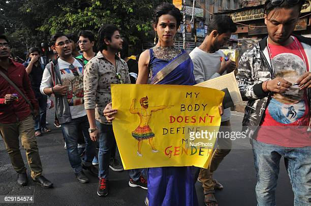 Indian members and supporters of the lesbian gay bisexual transgender community attend a Rainbow Pride Walk in Kolkata on December 11 2016 Marching...