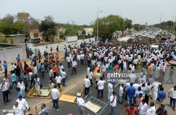 Indian members of the Darvida Munetra Kazhagam political party and opposition groups clashes with police during a protest against the killings of...