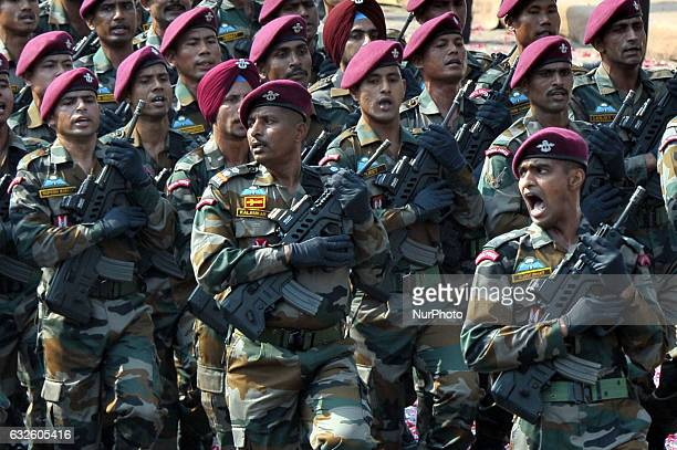Indian members of the Parachute Regiment march during the full dress resheashal Republic Day parade on Red Road on January 23, 2017 in Kolkata,...